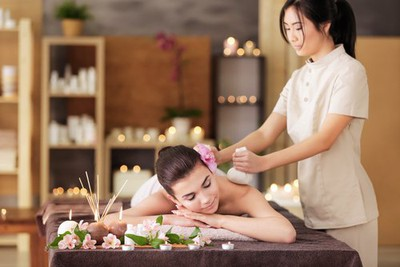 internal image bridal beauty checklist girl on a massage table