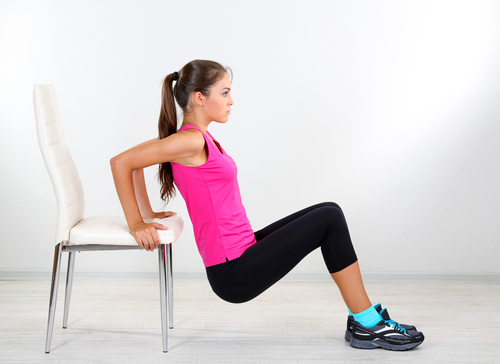 5 toned arms - dipping triceps using chair