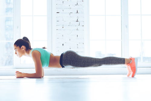 6 toned arms - planking with elbows shoulder width apart