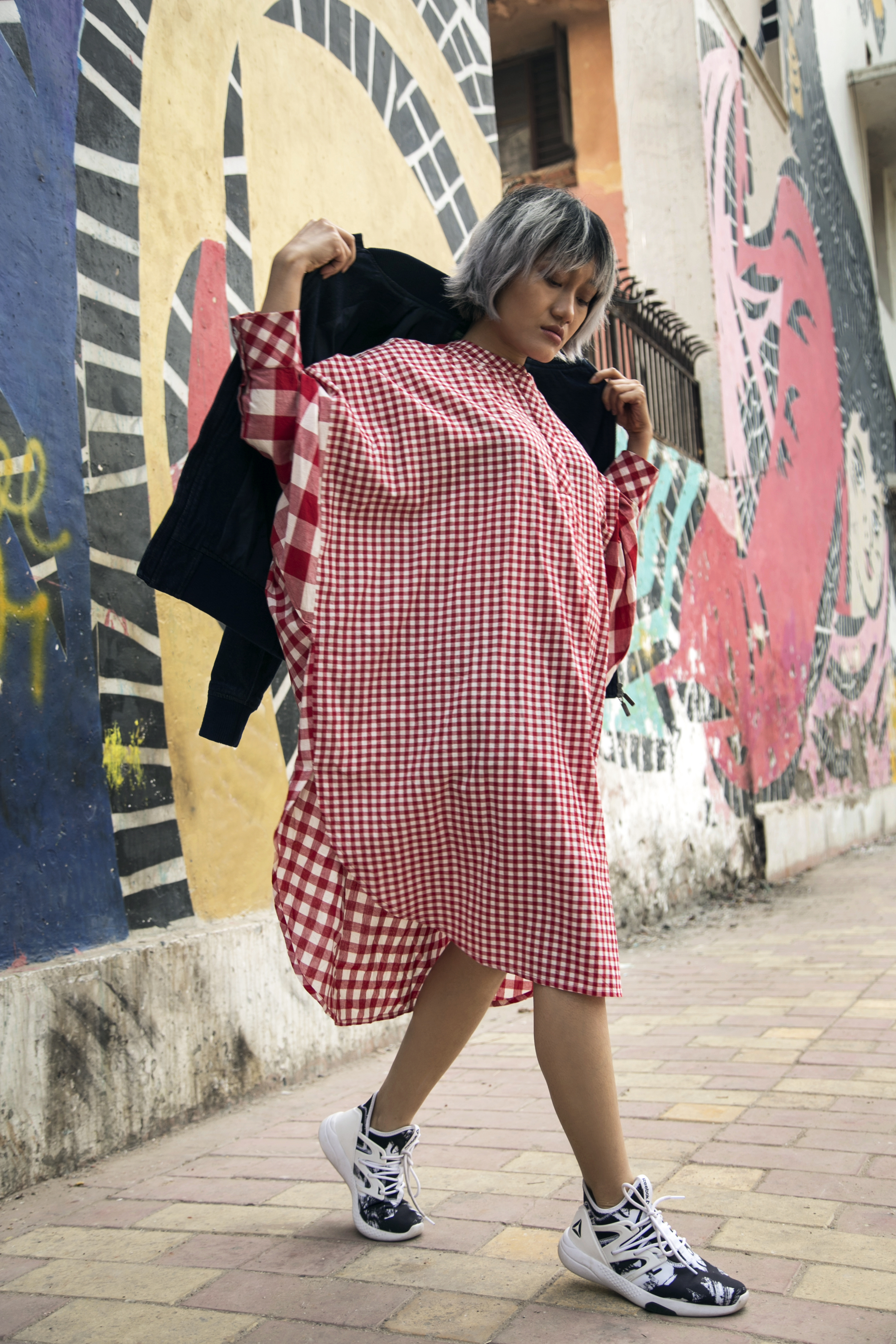 2 street style - Lazy Sunday Tunic - Red Check