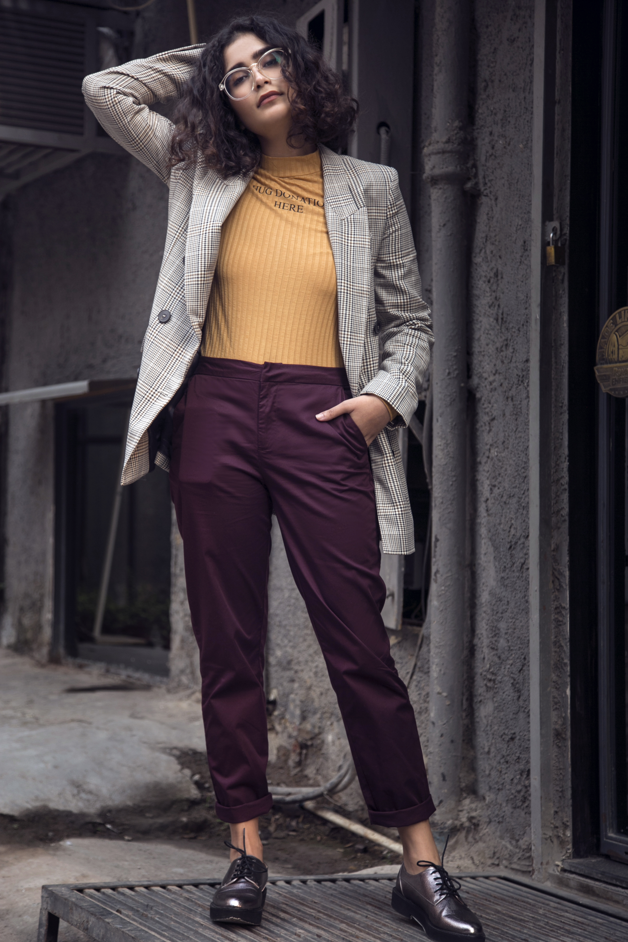 5 street style - Purple Solid Slim Fit Flat-Front Trousers