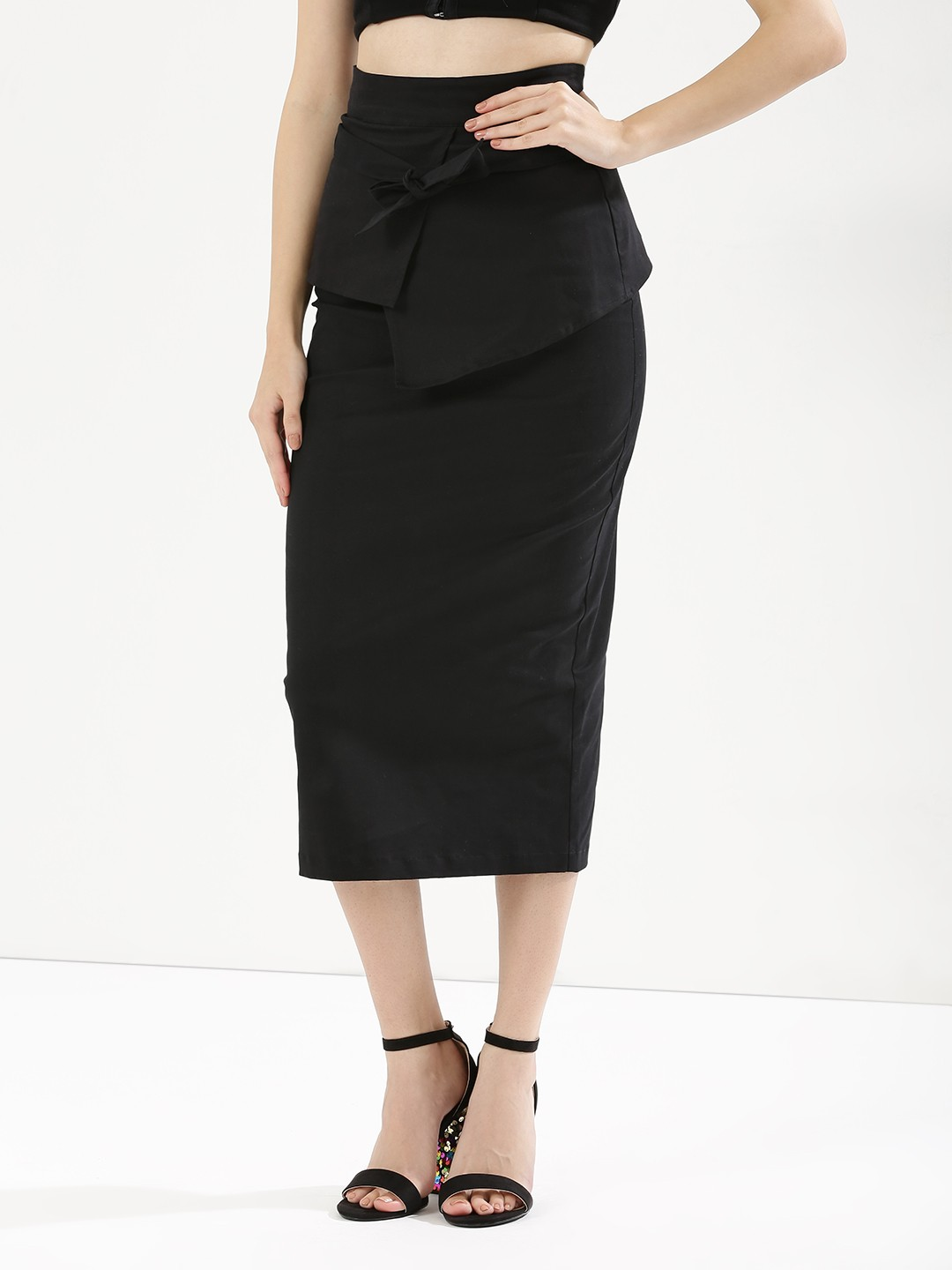 3 belly fat - High Waist Wrap Peplum Skirt