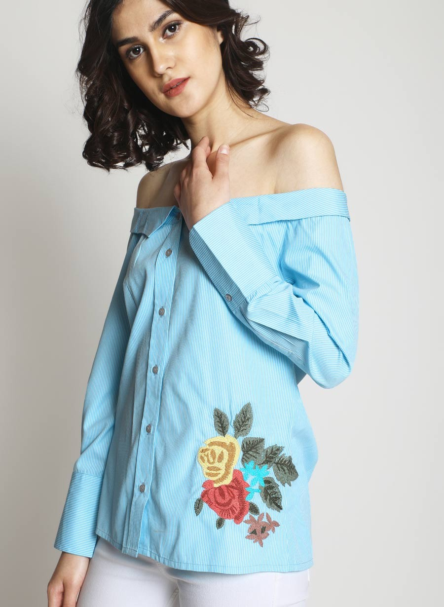 9 fest - Off-Shoulder Collared Shirt