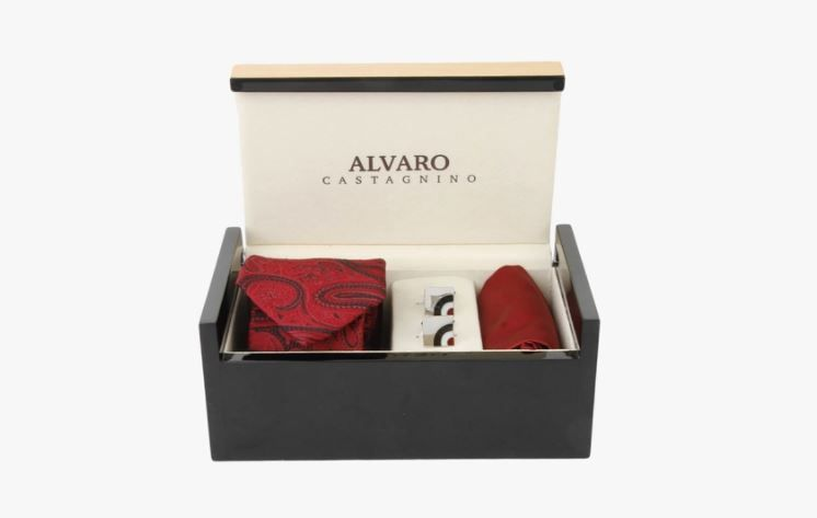4 valentine%E2%80%99s day - Maroon Tie and Cufflink Set
