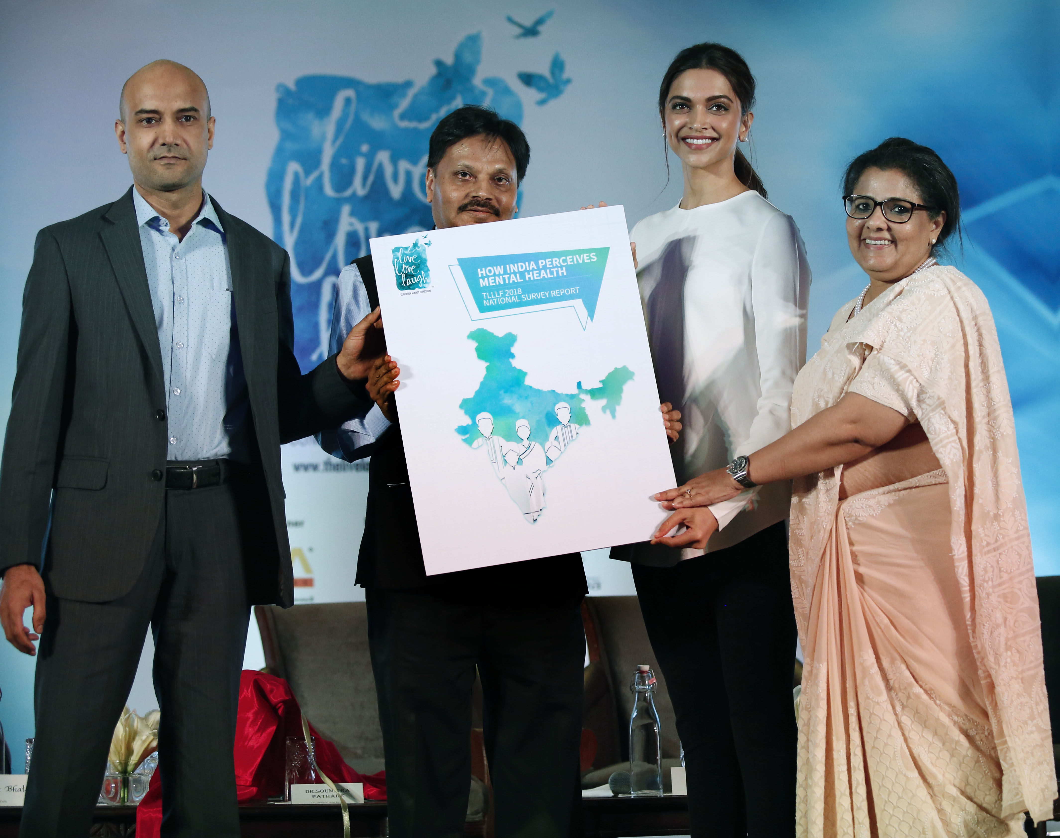 L2R Dr Shyam Bhat  Shri Sanjeeva Kumar  Ms Deepika Padukone and Ms Anna Chandy unveiling the Report on Public Perception Towards Mental Health in India