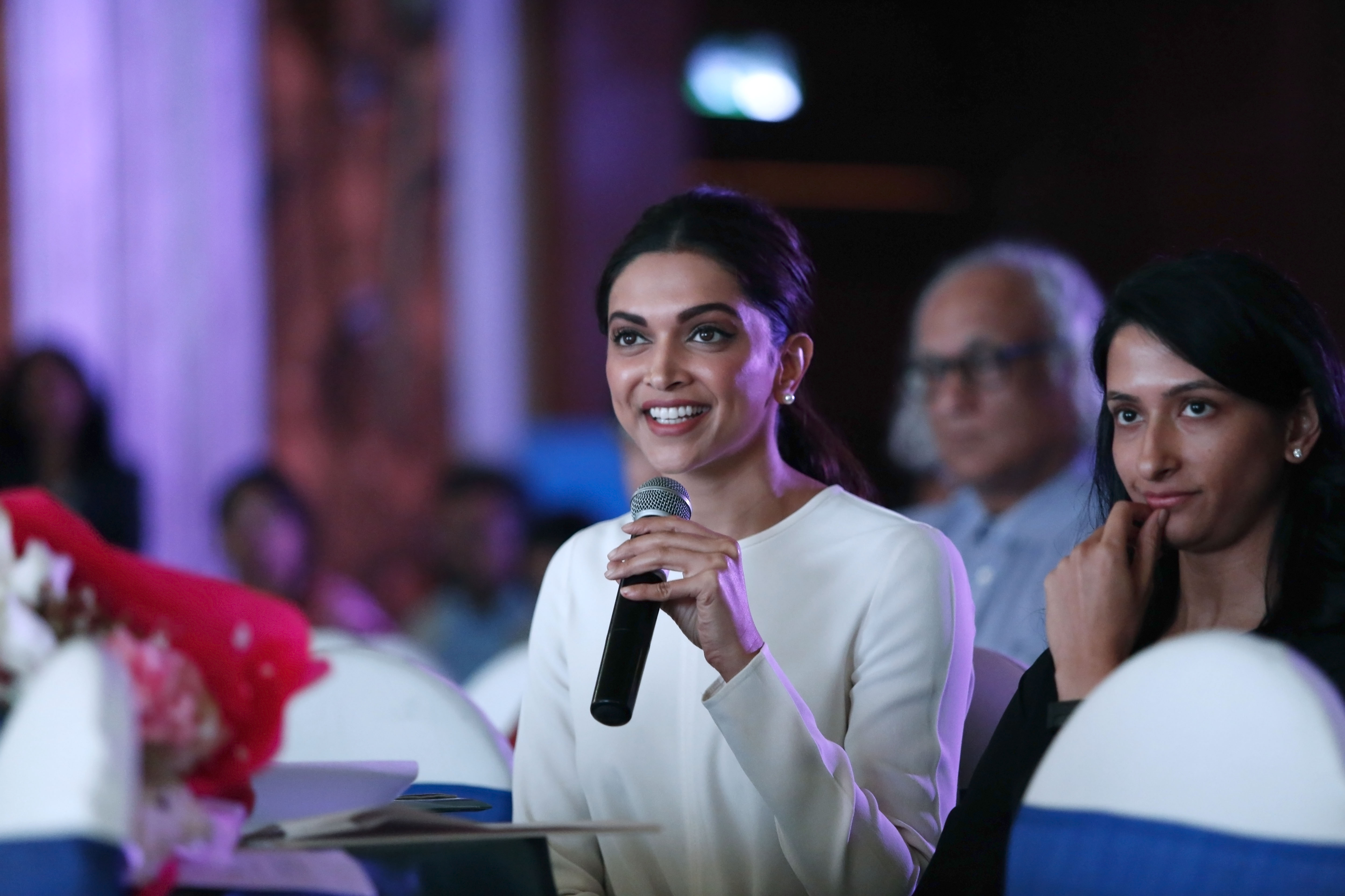 Ms Deepika Padukone and Ms Anisha Padukone at the launch of TLLLF report on mental health