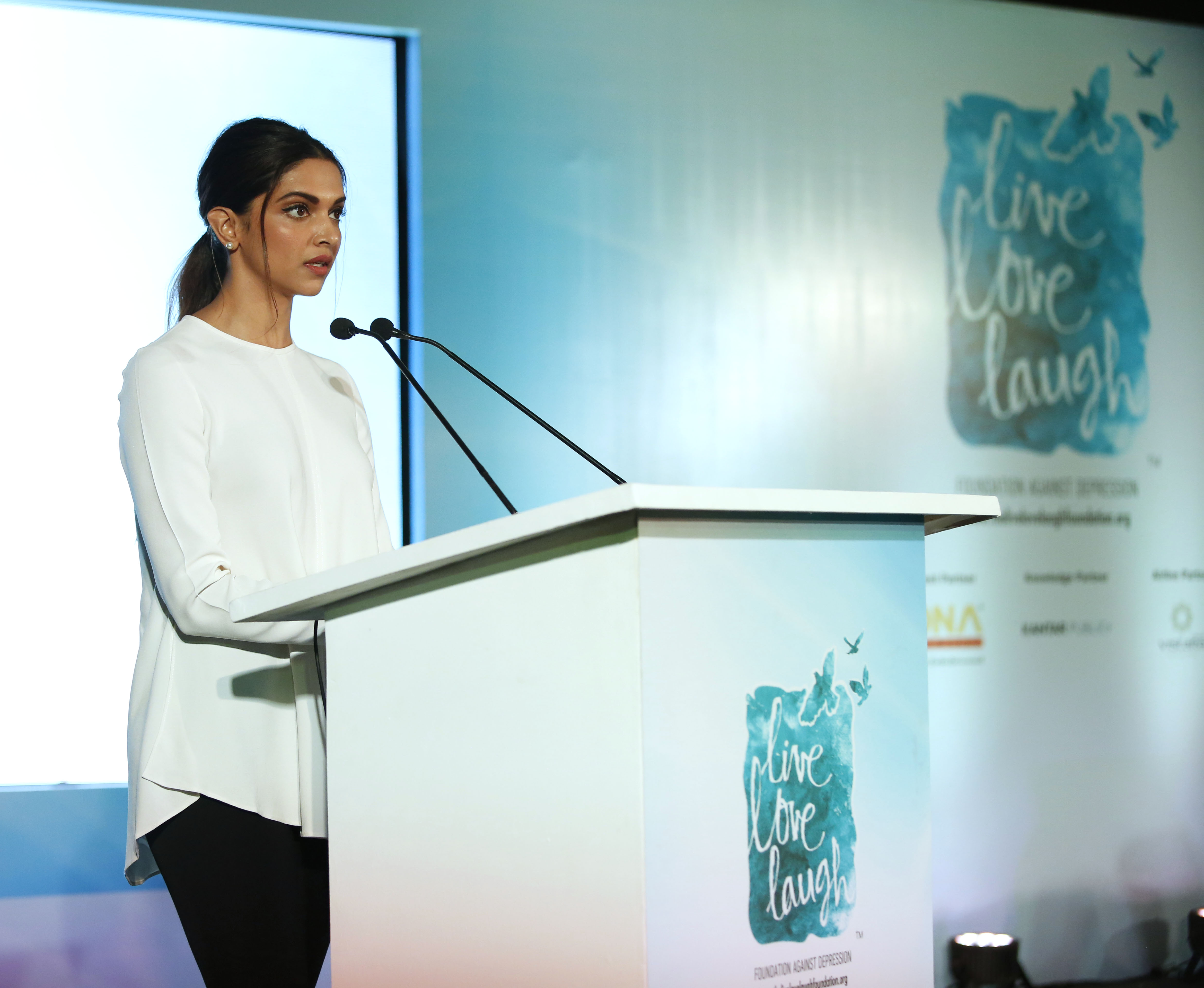 Ms Deepika Padukone speaking at the launch of a landmark report by TLLLF