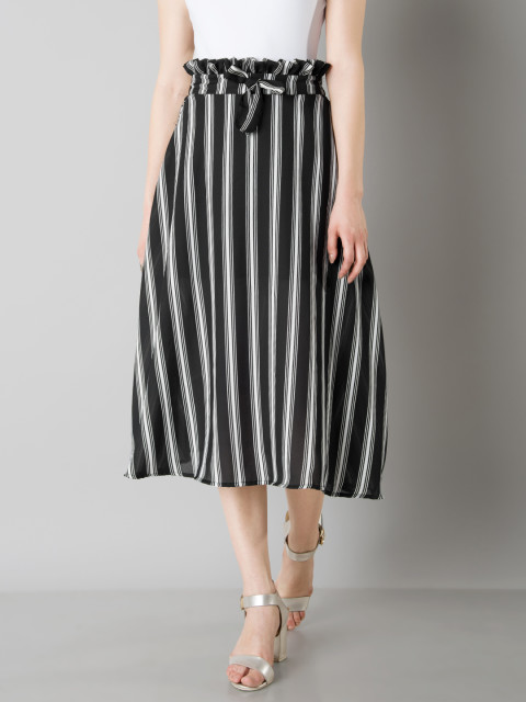 5 paperbag - Striped Paperbag Waist Midi Skirt