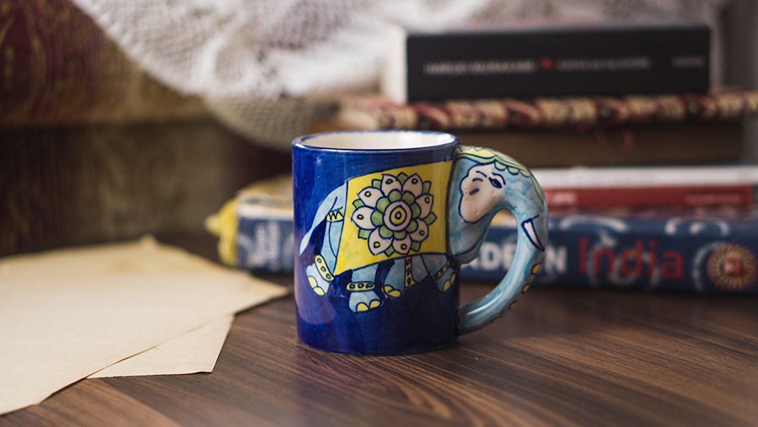 nuture india elephant handle mug