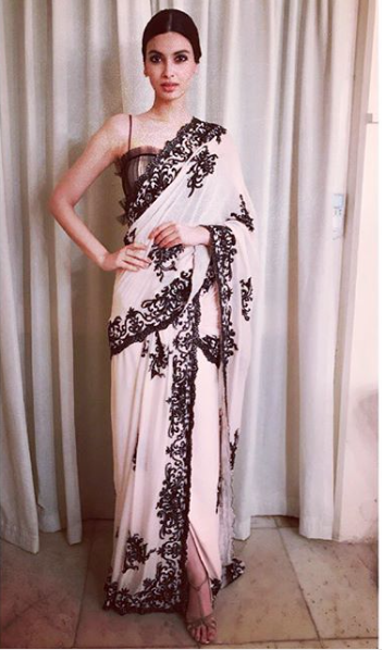 5. Diana Penty Black and white saree