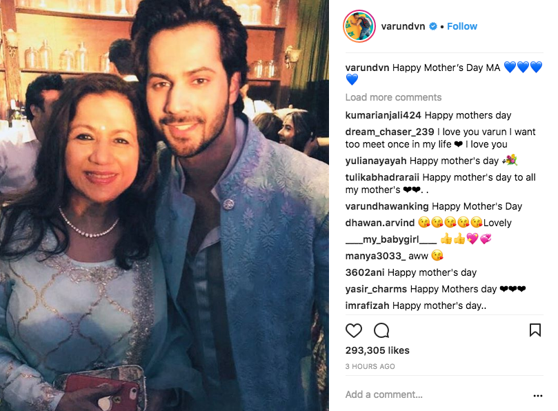 1. mother's day varun dhawan with mom
