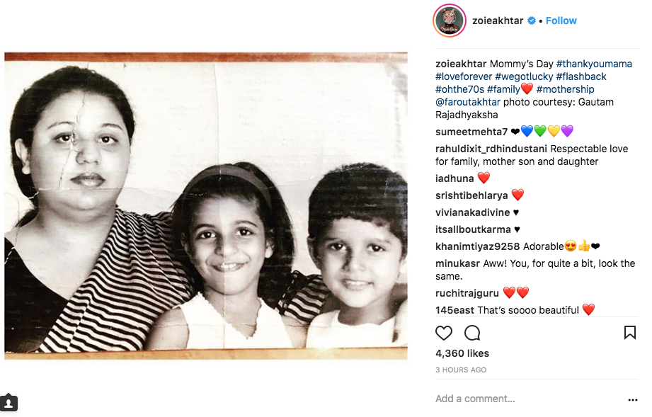 10 mothers day zoya akhtar with mom and bro