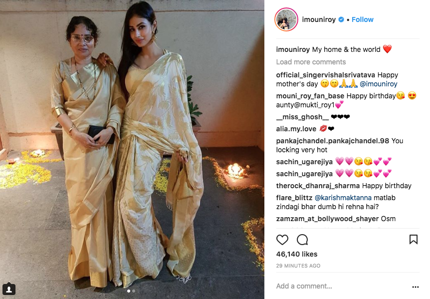 18 mothers day mouni roy and mom in a saree