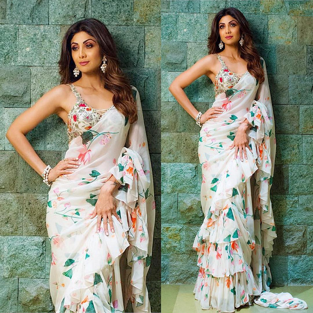 3 white saree - shilpa shetty kundra