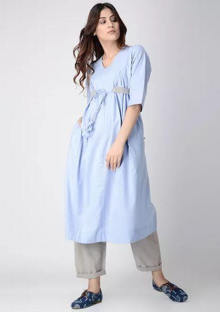 anan blue chambray kurta discounted kurtas look cool with jeans