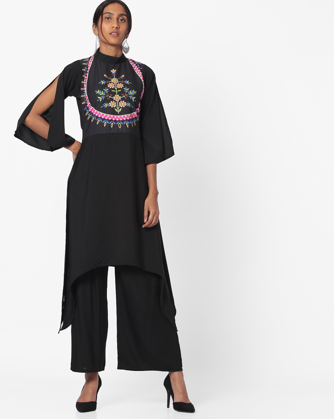 ziya black split sleeves kurta discounted kurtas look cool with jeans