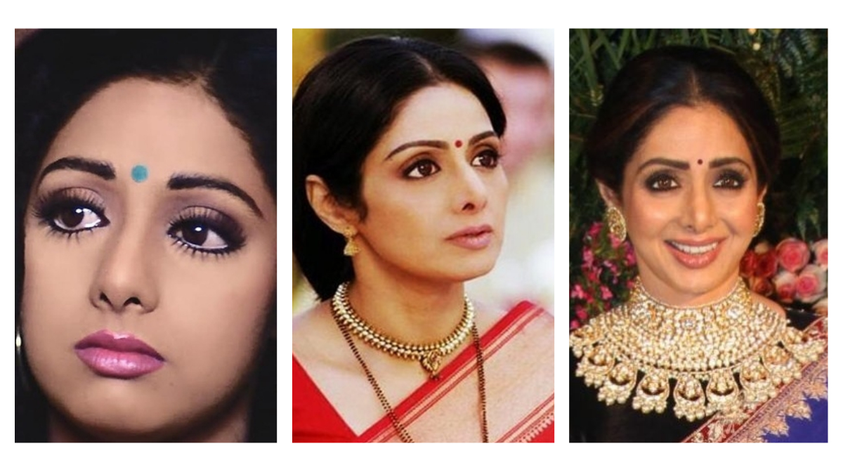sridevi plastic surgery collage