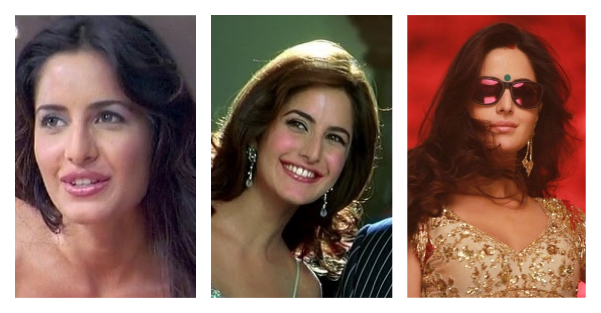 katrina kaif plastic surgery collage