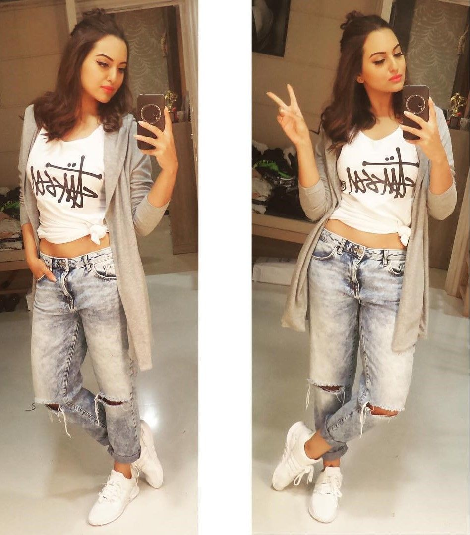 6. sonakshi sinha in stussy top ways to wear everyday top