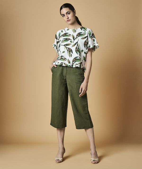 AND Workwear Capsule Summer 18 - Olive Green bottom Rs 1999   Leaf Printed top Rs 1999