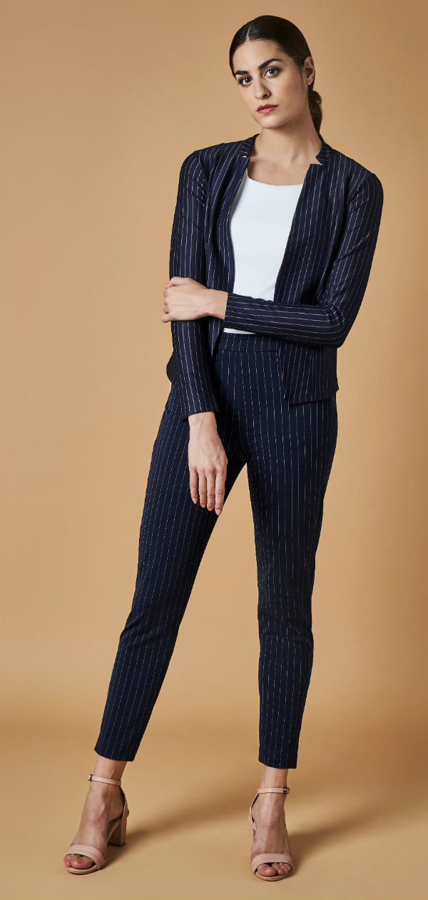AND Workwear Capsule Summer 18 Suit- Jacket Rs 1999 and Stripe Bottom Rs 1899