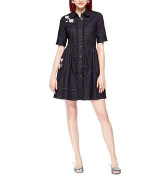 5 late spade - INDIGO EMBROIDERED DENIM SHIRT DRESS