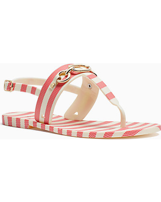 7 kate spade - RED   CREAM POLLY T-STRAP SANDALS