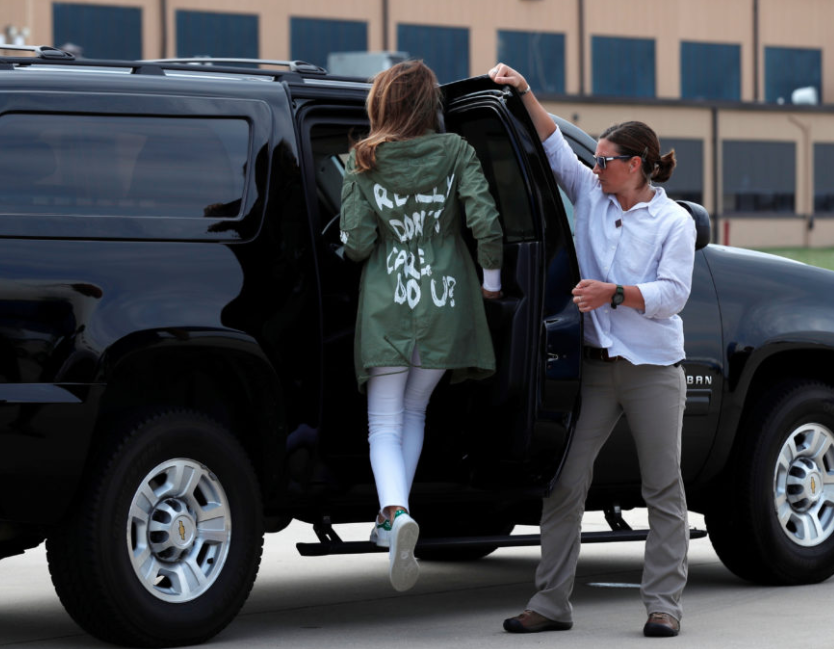 melania car melania trump's Zara jacket to detention center causes outrage