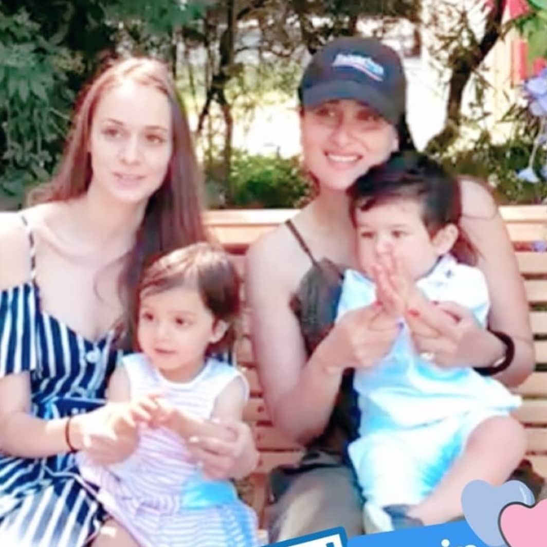 Taimur and Kainaat with their moms