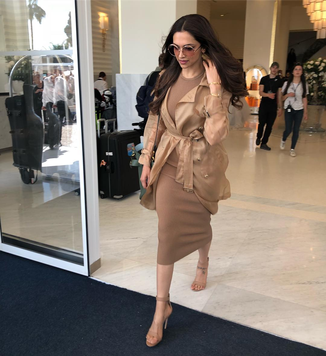 4 dresses - deepika padukone tan brown bodycon cannes
