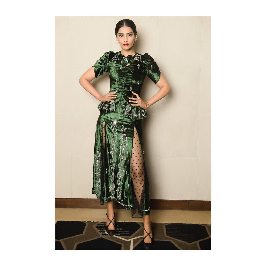 12 dresses - sonam kapoor green velvet dress
