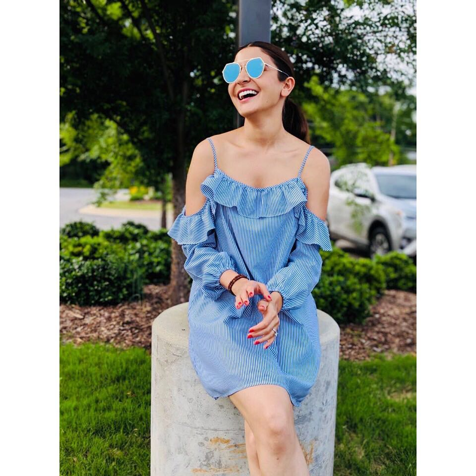 25 dresses - anushka sharma cold shoulder blue dress