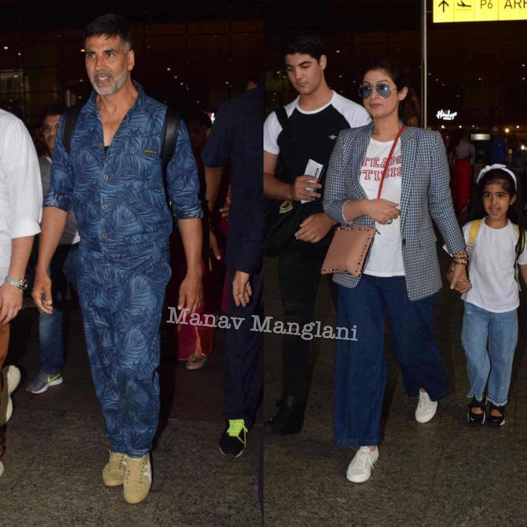 2 akshay kumar - twinkle khanna with kids at airport