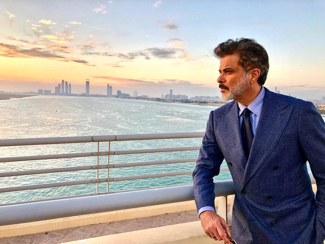 Anil kapoor posing in dubai while shooting for race 3