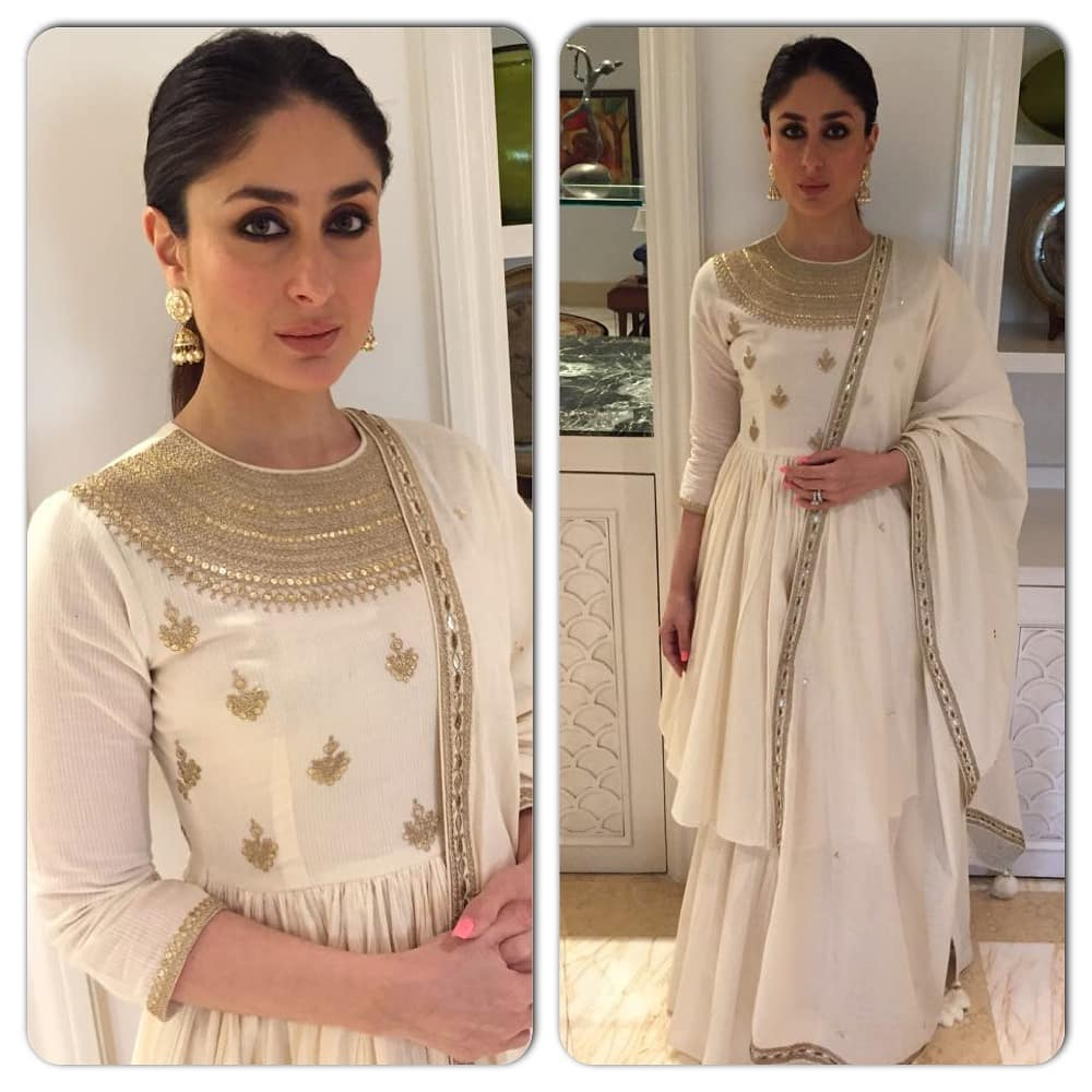3 kareena kapoor - white and golden suit for unicef