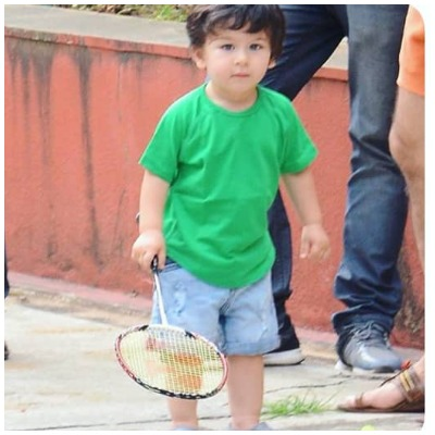 Taimur Ali Khan plays badminton