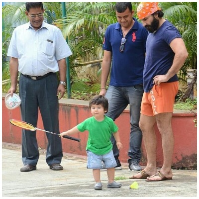 Taimur Ali Khan plays badminton with papa Saif