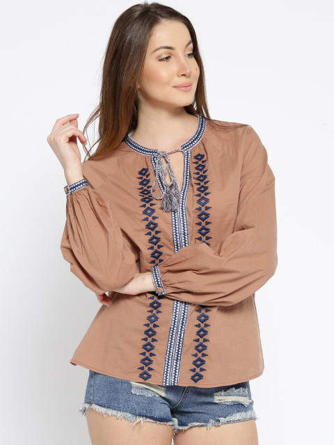 8 tunics - I AM FOR YOU Women Brown Embroidered Top