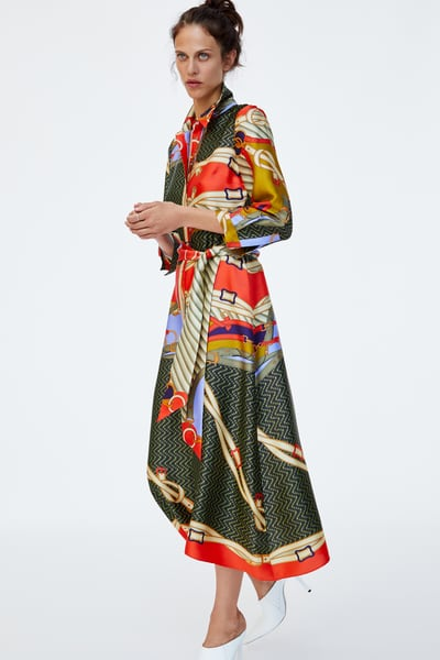 4 zara - PRINTED TUNIC WITH BELT