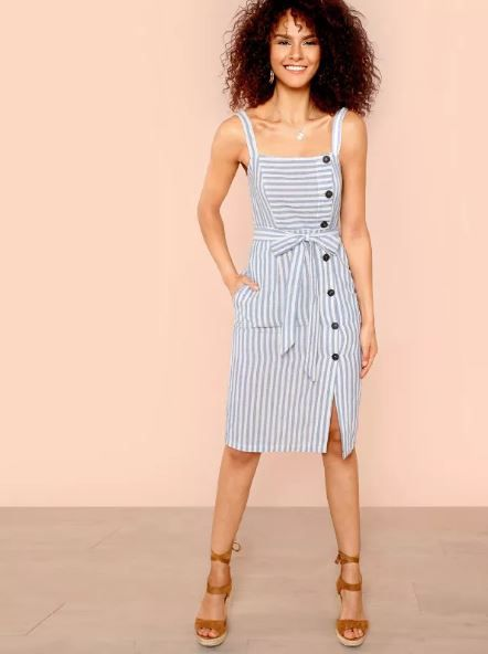 1. button dress stars vacay shein