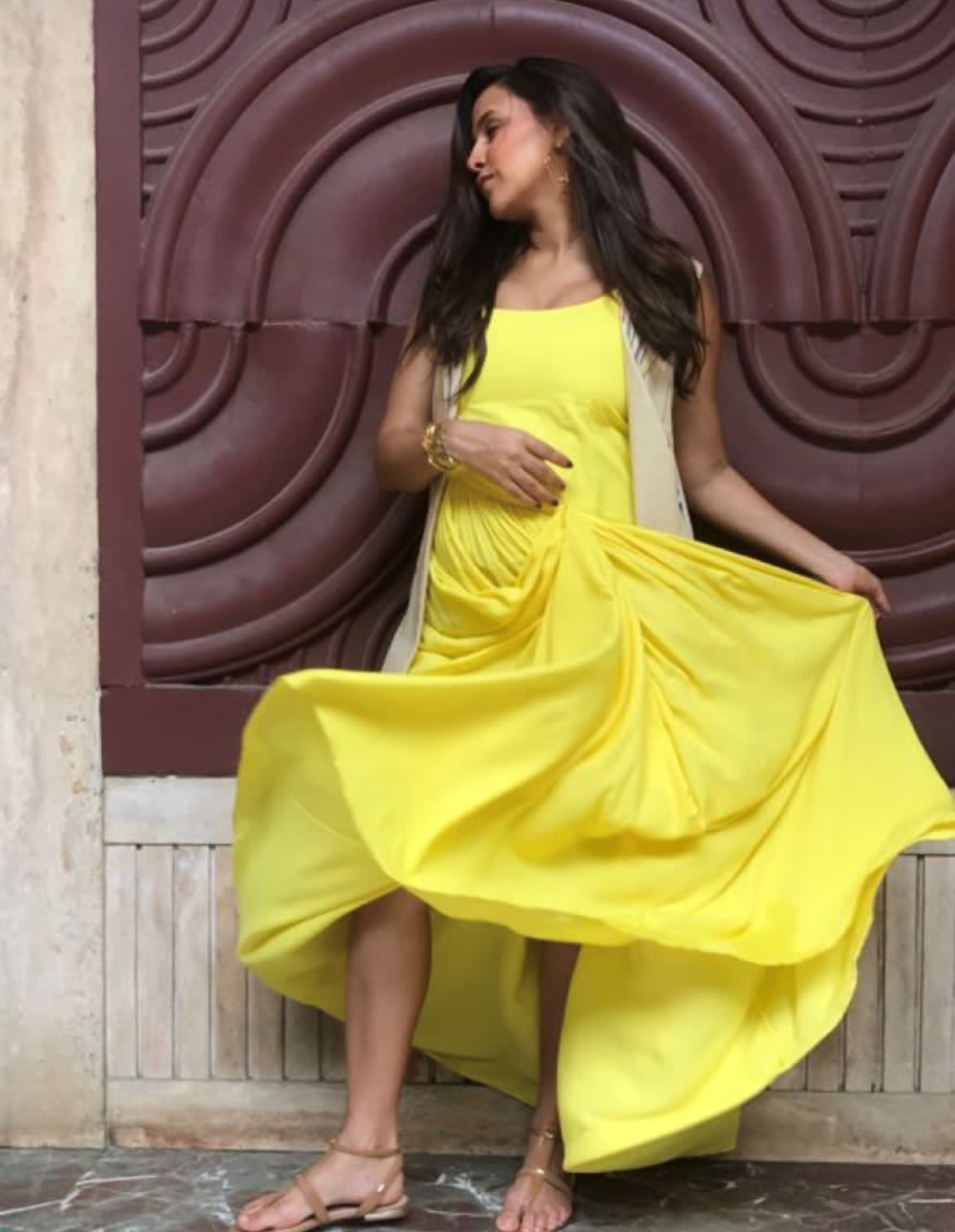 neha dhupia yellow dress 1