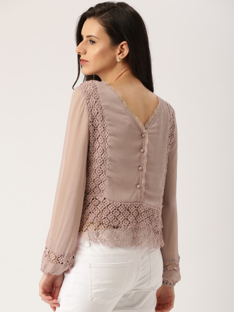2 date night outfits - all about you from Deepika Padukone Women Taupe Styled Back Top
