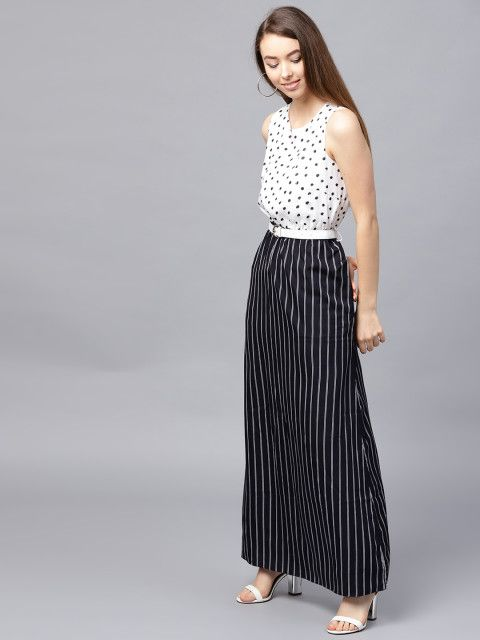 10 date night outfit - Athena Women Black   Off-White Striped Maxi Dress