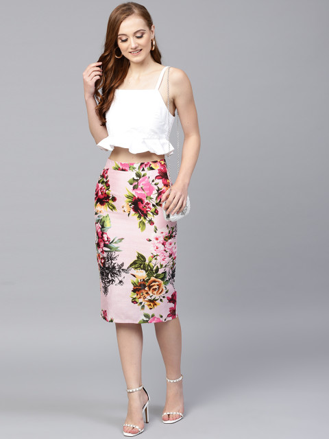12 date night outfit - SASSAFRAS Women Pink   Green Printed Pencil Skirt