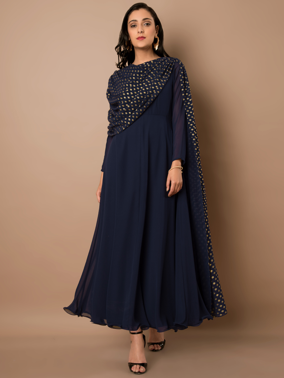 2 kasautii zindagii kay 2 - Women Navy Blue   Gold-Toned Solid Anarkali Kurta