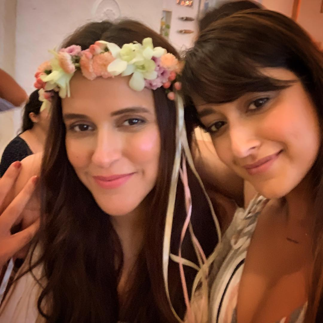 3 neha dhupia invited celebrity friends at her baby shower - neha dhupia at her baby shower with illeana d cruz
