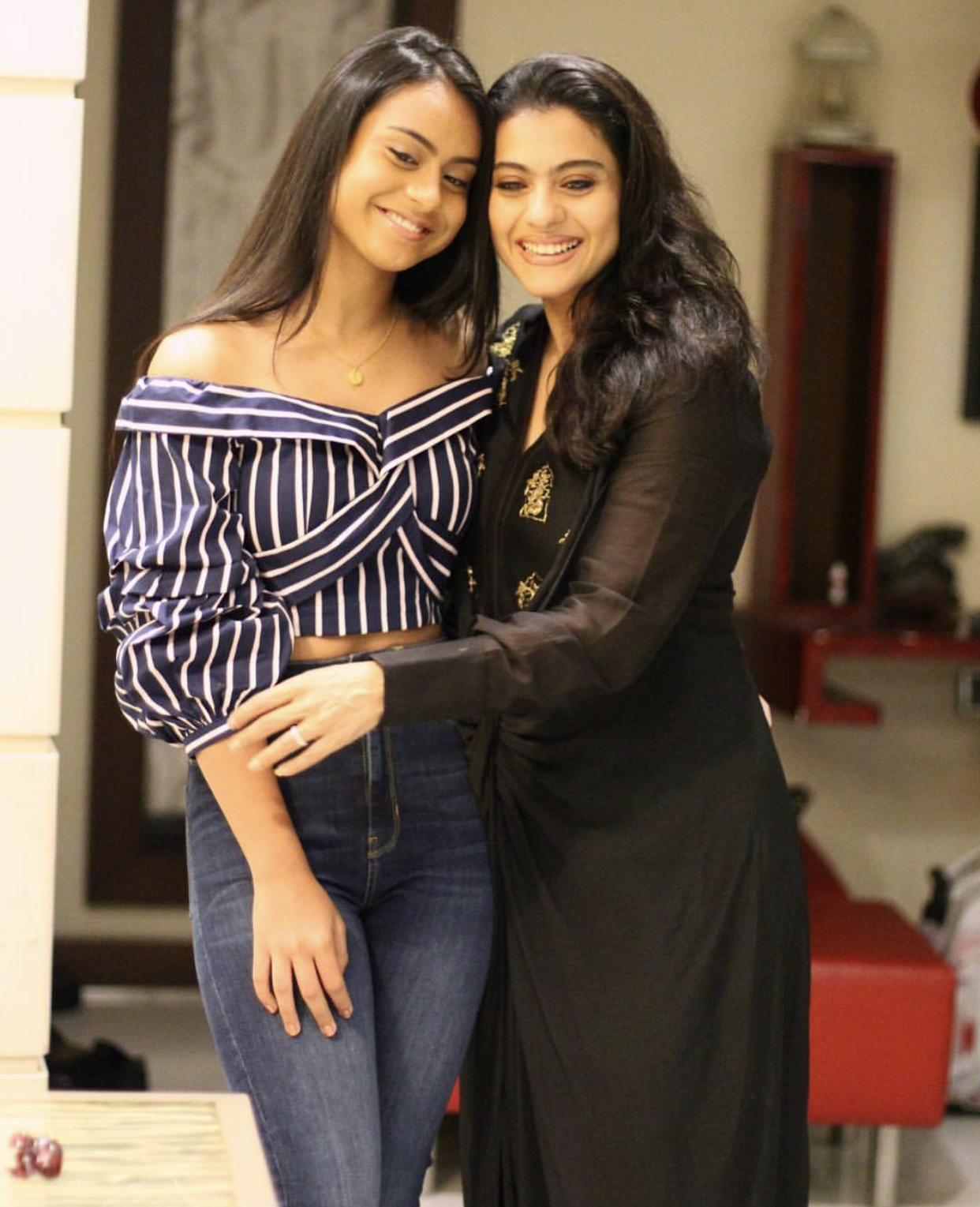 Kajol and Nysa helicopter eela screening picture by Radhika Mehra Instagram mother daughter duo beauty looks bollywood