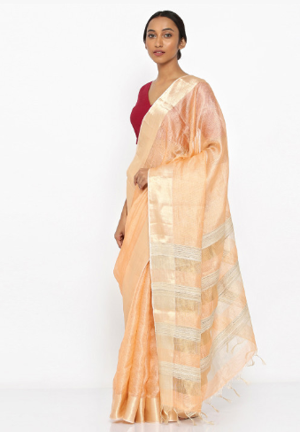 42-50-Saree-Designs-For-Diwali-peach tissue-myntra