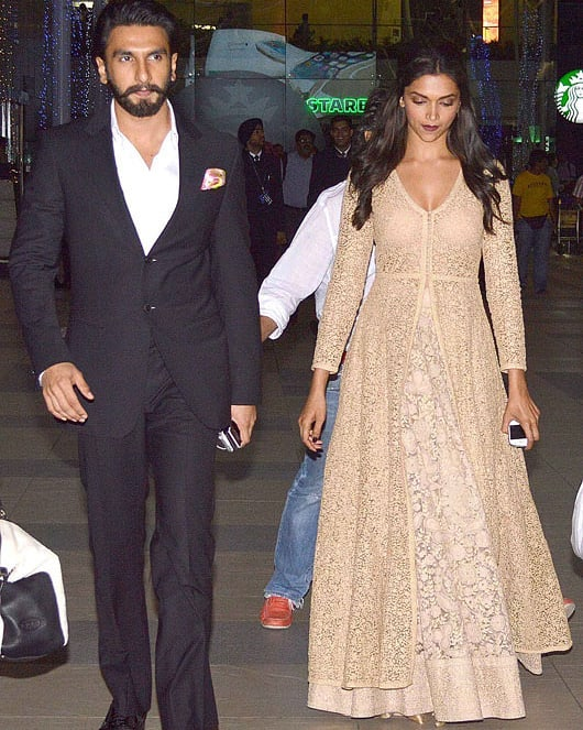 Adorable Pictures Of Deepika And Ranveer- peach suit
