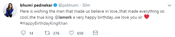 Here's How Bollywood Decided To Wish King Khan On His Birthday- bhumi pednekar